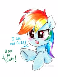 Size: 2156x2874 | Tagged: safe, artist:liaaqila, rainbow dash, pony, blatant lies, blushing, bust, cute, dashabetes, dialogue, ear fluff, fluffy, i'm not cute, leg fluff, offscreen character, part of a set, simple background, solo, talking to viewer, traditional art, tsunderainbow, tsundere, white background