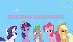 Size: 635x372 | Tagged: artist needed, safe, alternate version, artist:drewdini, artist:fallingrain22, artist:jhayarr23, artist:undeadponysoldier, edit, editor:undeadponysoldier, applejack, pinkie pie, rarity, spike, twilight sparkle, alicorn, dragon, earth pony, pony, unicorn, series:spikebob scalepants, bubble, female, male, mare, part of a series, part of a set, spongebob background, spongebob squarepants, title card, twilight sparkle (alicorn)