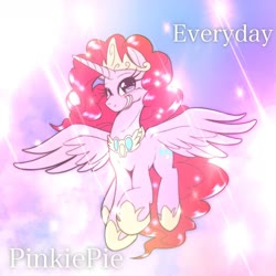 Size: 1536x1536 | Tagged: safe, artist:kurogewapony, idw, pinkie pie, alicorn, pony, spoiler:comic, alicornified, crown, cute, diapinkes, female, flying, hoof shoes, jewelry, mare, one eye closed, peytral, pinkiecorn, princess of chaos, race swap, regalia, sky, smiling, solo, spread wings, wings, wink, xk-class end-of-the-world scenario