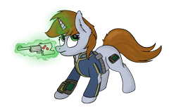 Size: 3254x2060 | Tagged: safe, artist:aaathebap, oc, oc only, oc:littlepip, pony, unicorn, fallout equestria, clothes, fanfic, fanfic art, female, glowing horn, gun, handgun, hooves, horn, levitation, little macintosh, magic, mare, optical sight, pipbuck, revolver, scope, simple background, solo, telekinesis, transparent background, vault suit, weapon