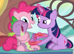 Size: 3514x2538 | Tagged: safe, artist:porygon2z, pinkie pie, spike, twilight sparkle, dragon, earth pony, pony, unicorn, bed, claws, feather, feet, female, fetish, foot fetish, golden oaks library, male, malesub, mare, open mouth, raised eyebrow, smiling, submissive, tickling, unicorn twilight