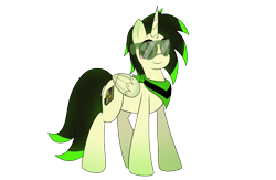 Size: 3910x2550 | Tagged: safe, artist:takaneko13, oc, oc only, oc:wave tech, alicorn, pegasus, pony, 2020 community collab, derpibooru community collaboration, alicorn oc, artificial wings, augmented, horn, male, mechanical wing, simple background, solo, stallion, sunglasses, transparent background, wings