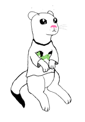 Size: 642x921   Tagged: safe, artist:redweasel, oc, oc:filly anon, oc:redweasel, weasel, 2020 community collab, derpibooru community collaboration, animal, barely pony related, beady eyes, clothes, female, filly, shirt, simple background, solo, t-shirt, transparent background