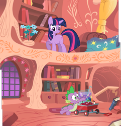 Size: 2939x3052 | Tagged: safe, composite screencap, edit, edited screencap, screencap, spike, twilight sparkle, dragon, pony, unicorn, owl's well that ends well, apple, bed, book, bookshelf, cart, duo, female, flower, food, golden oaks library, looking down, mare, punch (drink), punch bowl, unicorn twilight