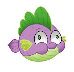 Size: 567x549 | Tagged: safe, artist:handgunboi, spike, fish, puffer fish, my little pony: the movie, spoiler:my little pony movie, puffy cheeks, species swap, spike the pufferfish