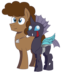 Size: 1577x1773 | Tagged: safe, artist:feralroku, derpibooru exclusive, oc, oc only, oc:cotton tales, oc:strong runner, changeling, pony, 2020 community collab, derpibooru community collaboration, dog tags, simple background, smiling, transparent background