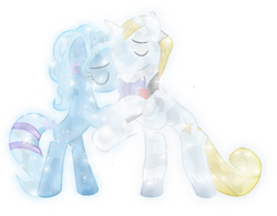 Size: 1013x789 | Tagged: safe, artist:lincolnbrewsterfan, prince blueblood, trixie, crystal pony, pony, bluetrix, crystalline, crystallized, dancing, female, male, shipping, simple background, straight, transparent background, vector