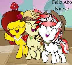 Size: 960x859 | Tagged: safe, artist:victor mlp, oc, oc:olé españa, oc:princess peruvia, oc:tailcoatl, alicorn, earth pony, pegasus, pony, alicorn oc, aztec, base used, female, filly, hat, mexico, nation ponies, new year, peru, ponified, spain, spanish