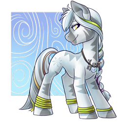 Size: 800x800 | Tagged: safe, artist:pixel-prism, oc, oc only, oc:faye, zebra, bracelet, braid, commission, female, jewelry, mare, necklace, ribbon, solo, zebra oc