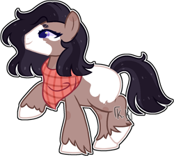 Size: 1479x1326 | Tagged: safe, artist:kurosawakuro, oc, oc only, earth pony, pony, base used, blank flank, coat markings, female, larger female, mare, neckerchief, offspring, parent:marble pie, parent:troubleshoes clyde, parents:marbleshoes, simple background, size difference, solo, transparent background, unshorn fetlocks