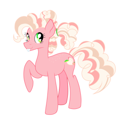 Size: 1280x1280 | Tagged: safe, artist:thr3eguess3s, peachy pie (g3), earth pony, pony, bucktooth, freckles, g3, g3 to g4, generation leap, simple background, solo, transparent background