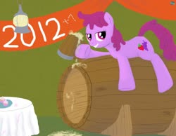 Size: 900x700 | Tagged: safe, artist:quint-t-w, berry punch, berryshine, earth pony, pony, banner, barrel, cider, cider mug, cupcake, firefly lamp, food, lamp, looking at you, lying down, mug, old art, solo