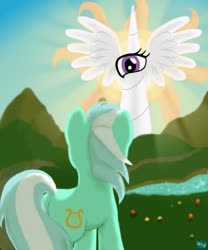 Size: 500x600 | Tagged: safe, artist:quint-t-w, lyra heartstrings, princess celestia, pony, unicorn, back of head, cutie mark, eye, horn, illuminati, light, looking at each other, old art, wat, wings