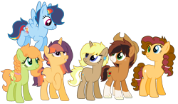 Size: 2336x1368 | Tagged: safe, artist:zafara1222, oc, oc only, oc:apple fritter, oc:bailey sweet, oc:daybreak glimmer, oc:flare blitz, oc:marzipanini, oc:pastiche, earth pony, pegasus, pony, unicorn, base used, blaze (coat marking), colored wings, colored wingtips, cowboy hat, ear piercing, earring, female, flying, freckles, group shot, hair tie, hat, heterochromia, jewelry, mare, next generation, offspring, parent:applejack, parent:big macintosh, parent:cheese sandwich, parent:flash sentry, parent:fluttershy, parent:pinkie pie, parent:rainbow dash, parent:rarity, parent:soarin', parent:trenderhoof, parent:troubleshoes clyde, parent:twilight sparkle, parents:cheesepie, parents:flashlight, parents:fluttermac, parents:soarindash, parents:trenderity, parents:troublejack, piercing, simple background, socks (coat marking), transparent background