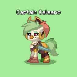Size: 1118x1120 | Tagged: safe, screencap, captain celaeno, pony town, my little pony: the movie, spoiler:my little pony movie, pixelated, solo