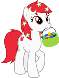 Size: 4000x5289 | Tagged: safe, artist:parclytaxel, oc, oc only, oc:temmy, earth pony, pony, 2020 community collab, derpibooru community collaboration, project seaponycon, .svg available, absurd resolution, basket, crescent, female, lights, looking up, mare, mouth hold, nation ponies, raised hoof, simple background, singapore, smiling, solo, stars, transparent background, vector