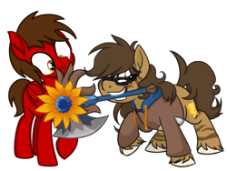 Size: 1600x1200 | Tagged: safe, artist:binkyt11, artist:toyminator900, derpibooru exclusive, oc, oc only, oc:binky, oc:chip, earth pony, hybrid, pegasus, pony, zebra, zebroid, zony, 2020 community collab, derpibooru community collaboration, axe, beard, brawlhalla, clothes, facial hair, female, flower, freckles, hoodie, male, mare, moustache, mouth hold, raised hoof, rayman, simple background, sunflower, transparent background, unshorn fetlocks, weapon