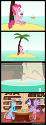 Size: 1495x4012 | Tagged: safe, artist:klystron2010, big macintosh, pinkie pie, rainbow dash, twilight sparkle, alicorn, earth pony, pegasus, pony, spider, fanfic:the spiderses, book, coconut, comic, cup, don't question the pinkie pie, drink, female, food, golden oaks library, island, mare, micro, mini pony, miniature, miniature pony, ocean, palm tree, pinkie being pinkie, sitting, size difference, spread wings, straw in mouth, summer, surprised, surreal, tree, twilight sparkle (alicorn), wat, wings