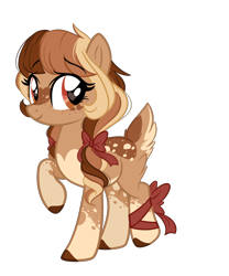 Size: 1826x2197 | Tagged: safe, artist:emberslament, oc, oc only, deer, deer pony, original species, bow, cute, female, hair bow, heart eyes, pigtails, simple background, socks (coat marking), transparent background, wingding eyes
