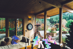 Size: 2500x1667 | Tagged: safe, artist:90sigma, artist:dashiesparkle, princess cadance, princess celestia, princess luna, alicorn, pony, clock, couch, female, house, interior, irl, photo, ponies in real life