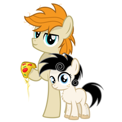 Size: 2500x2500 | Tagged: safe, artist:pizzamovies, oc, oc:pizzamovies, oc:sugar slice, pony, 2020 community collab, derpibooru community collaboration, female, filly, food, meat, pepperoni, pepperoni pizza, pizza, ponies eating meat, raised hoof, simple background, smiling, transparent background