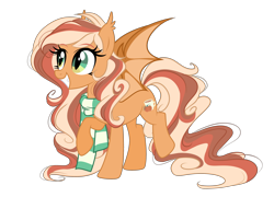 Size: 3662x2634 | Tagged: safe, artist:emberslament, artist:lazuli, oc, oc only, oc:pumpkin spice, bat pony, pony, clothes, cute, fangs, female, happy, mare, scarf, simple background, transparent background