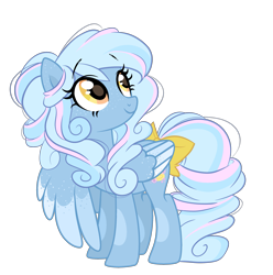 Size: 2615x2634 | Tagged: safe, artist:emberslament, oc, oc only, oc:bubble bath, pegasus, pony, bow, cute, female, freckles, looking up, mare, simple background, tail bow, transparent background, wing freckles