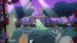 Size: 2880x1619 | Tagged: safe, screencap, fluttershy, bird, duck, ferret, flamingo, loon, mouse, pegasus, pony, rabbit, squirrel, wallaroo, the best night ever, animal, at the gala, canterlot gardens, clothes, common loon, dress, duckling, female, gala dress, mare, spotlight, tree