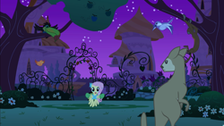 Size: 2880x1620 | Tagged: safe, screencap, constance, fluttershy, bird, keel-billed toucan, monkey, pegasus, pony, spider monkey, toucan, wallaroo, the best night ever, animal, apple, apple tree, canterlot, canterlot gardens, female, mare, night, tree