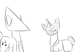 Size: 1280x853   Tagged: safe, artist:ask-peppermint-pattie, oc, oc:peppermint pattie (unicorn), pony, unicorn, ask peppermint pattie, clothes, costume, female, mare, monochrome, nightmare night costume, pyramid head