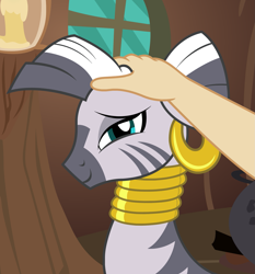 Size: 1673x1797 | Tagged: safe, artist:badumsquish, derpibooru exclusive, zecora, human, zebra, candle, cauldron, content, cute, duo, ear piercing, earring, female, floppy ears, hand, happy, jewelry, looking at you, necklace, offscreen character, petting, petting her, piercing, pov, quadrupedal, show accurate, smiling, window, zecora's hut, zecorable
