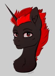 Size: 768x1056 | Tagged: safe, artist:silverst, oc, oc only, pony, unicorn, bust, horn, male, red eyes, red hair, simple background, stallion, unicorn oc