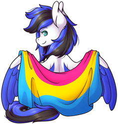 Size: 1749x1845   Tagged: safe, artist:ak4neh, oc, oc only, oc:black ice, pegasus, pony, clothes, cute, female, flag, looking at you, mare, pansexual pride flag, pegasus oc, pride, pride flag, simple background, sitting, solo, spread wings, transparent background, wings