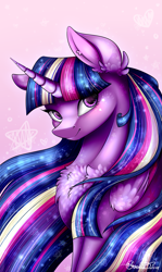Size: 1399x2351 | Tagged: safe, artist:creativecocoacookie, twilight sparkle, alicorn, pony, twilight's kingdom, chest fluff, cute, ear fluff, female, heart, heart eyes, mare, pink background, rainbow power, simple background, solo, starry eyes, stars, twiabetes, twilight sparkle (alicorn), wingding eyes