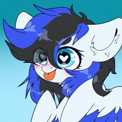 Size: 1200x1200 | Tagged: safe, artist:etoz, oc, oc only, oc:black ice, pegasus, pony, blushing, bust, cute, ear fluff, female, heart eyes, looking at you, mare, solo, tongue out, wingding eyes