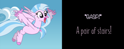 Size: 998x399 | Tagged: safe, artist:mlp-silver-quill, edit, edited screencap, editor:silverstreamfan999, screencap, silverstream, classical hippogriff, hippogriff, comic:pinkie pie says goodnight, school daze, comic, cropped, looking at something, smiling, solo, spoilers for another series, spread arms, spread wings, stairs, that hippogriff sure does love stairs, wings