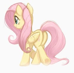 Size: 333x329 | Tagged: safe, artist:ravensunart, fluttershy, pegasus, pony, butt, cute, female, flutterbutt, mare, plot, shyabetes, simple background, solo, white background
