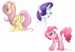 Size: 700x486 | Tagged: safe, artist:ravensunart, fluttershy, pinkie pie, rarity, earth pony, pegasus, unicorn, bust, butt, cute, eyes closed, female, mare, open mouth, plot, portrait, simple background, smiling, trio, white background