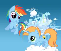 Size: 900x756 | Tagged: safe, artist:eljonek, rainbow dash, oc, oc:harmony star, alicorn, alicorn oc, cloud, cloudsdale, colt, female, filly, filly rainbow dash, male, on a cloud, rainbow dash's house, standing on cloud, younger