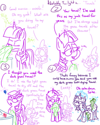 Size: 4779x6013 | Tagged: safe, artist:adorkabletwilightandfriends, spike, starlight glimmer, twilight sparkle, alicorn, dragon, pony, unicorn, comic:adorkable twilight and friends, adorkable, adorkable twilight, bathroom, blowing nose, butt, comic, cute, dat towelin', dork, eye drops, glowing horn, horn, humor, magic, nose blowing, nostrils, rag, routine, shocked, shower, slice of life, snot, surprised, telekinesis, towel, twilight sparkle (alicorn), upset, wet
