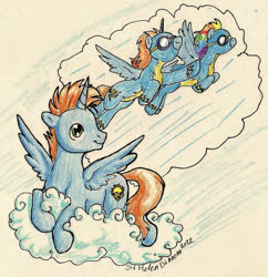 Size: 879x909 | Tagged: safe, artist:prince-harmony, rainbow dash, oc, oc:harmony star, alicorn, alicorn oc, clothes, cloud, traditional art, uniform, wonderbolts uniform