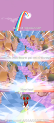 Size: 2000x4485 | Tagged: safe, edit, edited screencap, screencap, discord, draconequus, the return of harmony, caption, chaos, cloud, comic, defeat, defeated, discord's throne, homer simpson, house, image macro, implied mane six, meme, oh crap, ponyville, quote, rainbow, rainbow of harmony, reference, screencap comic, sky, taste the rainbow, text, the simpsons, tree, wide eyes