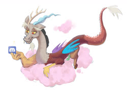 Size: 1296x943 | Tagged: safe, artist:coldrivez, discord, draconequus, cloud, cotton candy, cotton candy cloud, discord (program), food, looking at something, male, namesake, no pupils, on a cloud, prone, pun, simple background, solo, visual pun, white background