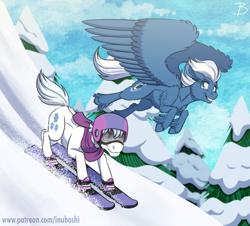 Size: 1900x1718   Tagged: safe, artist:inuhoshi-to-darkpen, double diamond, night glider, earth pony, pegasus, pony, digital art, duo, feathered fetlocks, female, helmet, male, mare, racing, smiling, snow, snowboard, snowboarding, stallion, tree