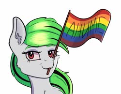Size: 1080x836 | Tagged: safe, artist:silverst, oc, oc only, oc:nuclear integrity, anime, cyrillic, female, gay pride flag, green hair, mare, pride, pride flag, red eyes, russian, simple background, white background