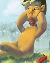 Size: 3009x3781 | Tagged: safe, artist:toisanemoif, applejack, earth pony, pony, apple, detachable head, disembodied head, female, food, frog (hoof), headless, mare, modular, sitting, solo, underhoof, wat