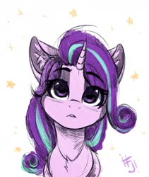 Size: 1600x1900 | Tagged: safe, artist:falafeljake, starlight glimmer, pony, unicorn, bust, chest fluff, cute, ear fluff, female, glimmerbetes, mare, portrait, simple background, solo, stars, white background, wrong eye color
