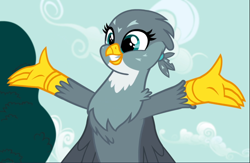 Size: 1438x939   Tagged: safe, screencap, gabby, griffon, the fault in our cutie marks, cropped, female, smiling, solo