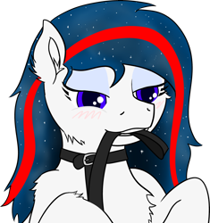 Size: 3784x4033 | Tagged: safe, alternate version, artist:poniidesu, oc, oc only, oc:nasapone, earth pony, pony, /mlp/, bedroom eyes, blushing, cheek fluff, chest fluff, collar, ear fluff, ethereal mane, eyeliner, female, leash, makeup, mare, mouth hold, pet play, simple background, starry mane, transparent background