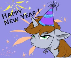 Size: 800x655 | Tagged: safe, artist:rutkotka, oc, oc only, oc:littlepip, pony, unicorn, fallout equestria, abstract background, bust, fanfic, fanfic art, female, fireworks, floppy ears, frown, grumpy, happy new year, hat, holiday, horn, mare, party hat, portrait, solo